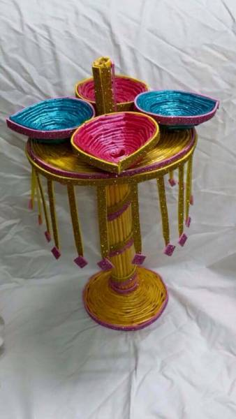 Newspaper Diyas Amp Golden Diya Stand For Diwali Decoration
