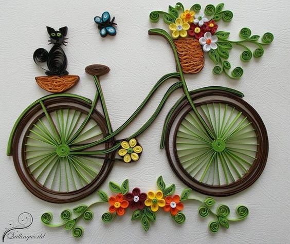 Kanzashi tutorial tutorials and kanzashi flowers on pinterest - How To Make Quilling Bicycle With Flowers Craft Community