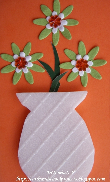 Thermocol Craft flower pot Card
