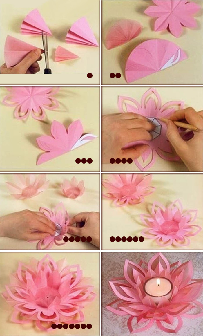 Diy how to make a paper lotus candle holder craft community for Diy paper lotus candlestick