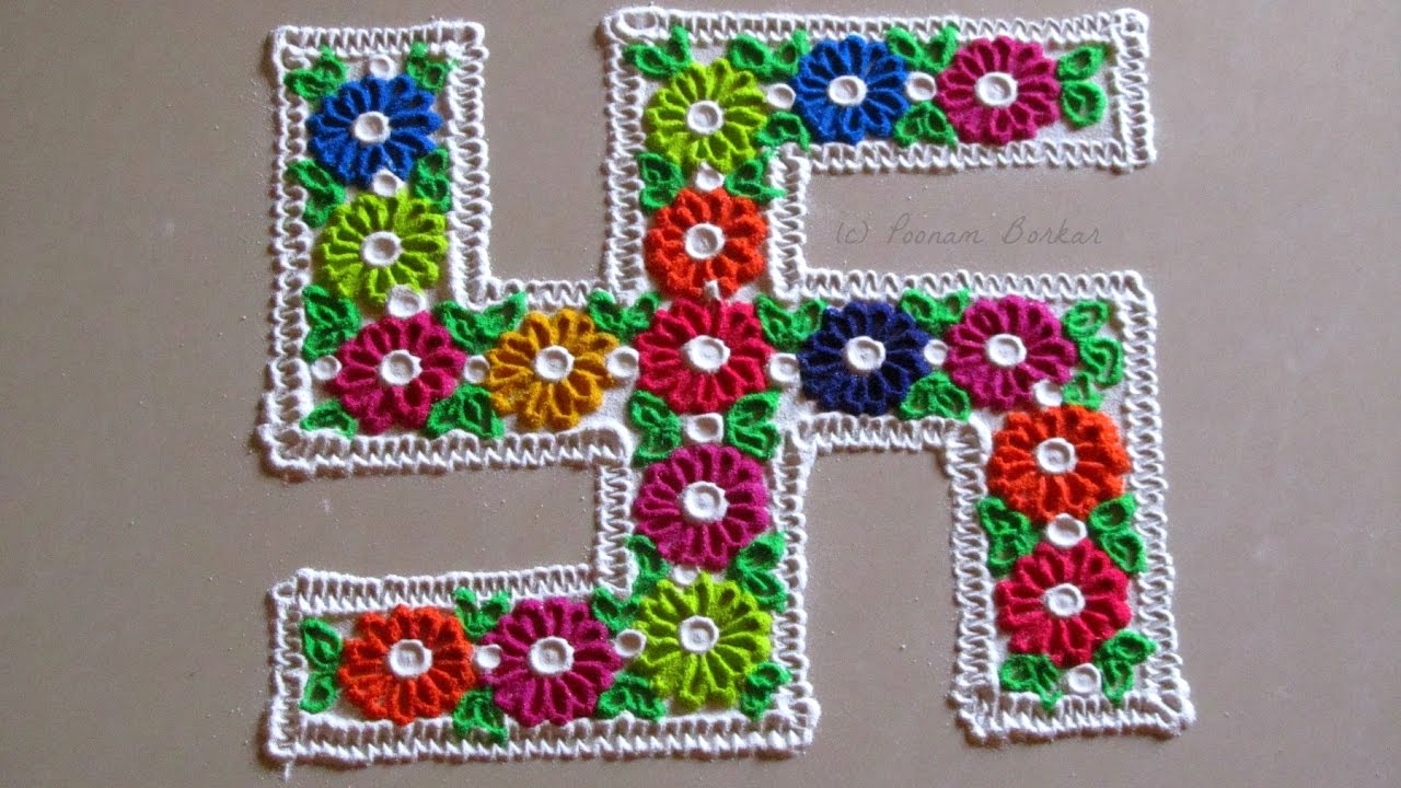 Easy And Simple Multicoloured Swastik Rangoli Craft