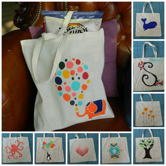 Craft Ideas: Block Painting On Tote Bag