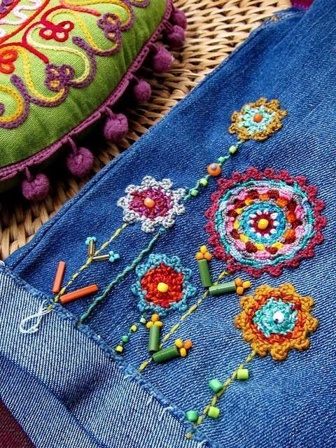 Hand Embroidery on Denim Ideas
