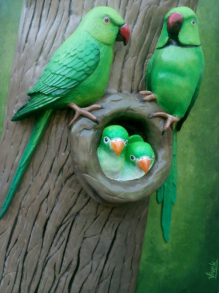 How To Make Wall Hanging Cute Parrot Family From Clay Art