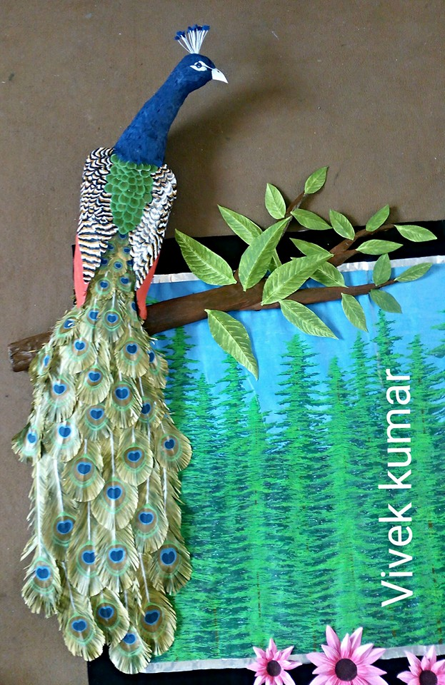 How To Make Peacock Wall Art From Waste Paper Craft