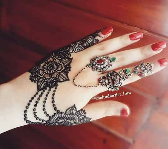 easy simple jewellery ornamental henna mehndi designs for