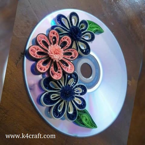 Beautiful handmade paper quilling flowers and more craft community cd decorated with quilling flower colour paper glue mightylinksfo